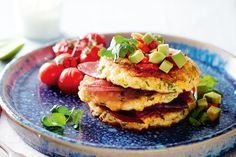 Serve corn fritters with crisp pancetta and zesty avocado salsa for the perfect breakfast pick-me-up. Egg Recipes For Breakfast, Brunch Recipes, Breakfast Ideas, Avocado Breakfast, Breakfast Sandwiches, Drink Recipes, Dinner Recipes, Vegetarian Recipes, Cooking Recipes