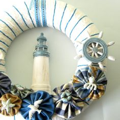 Nautical - Yarn Wreath 12 inches