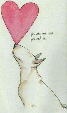 Bullterrier love! #Bullterrier #dog #pug #perro #love #amor #animales #bull #terrier