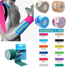 [Visit to Buy] Quality 5cm*5m Elastic Cotton Roll Adhesive Kinesio Tape Sports Injury Muscle Strain Protection Tapes First Aid Bandage Support #Advertisement