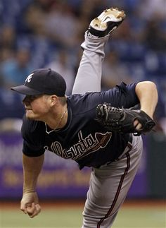 Atlanta Braves relief pitcher Craig Kimbrel delivers to the Tampa Bay Rays during the ninth inning of an interleague baseball game, Friday, May 18, 2012, in St. Petersburg, Fla. (AP Photo/Chris O'Meara)