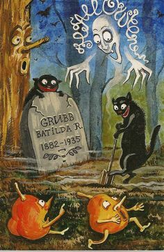 I really like this artist, looks vintage but its not and very reasonably priced. Retro Halloween, Vintage Halloween Cards, Halloween Toys, Halloween Poster, Halloween Painting, Halloween Prints, Halloween Pictures, Holidays Halloween, Happy Halloween