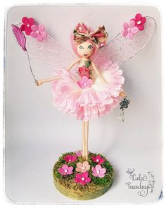 Flossie on a stand Fairy wishing doll flower fairy Angel Flowers, Flower Fairies, Flower Petals, Diy Flowers, Fairy Crafts, Garden Crafts, Diy And Crafts, Crafts For Kids, Arts And Crafts