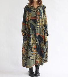 women Hooded long sleeved dress Loose fitting Women autumn Clothing long coat windbreaker