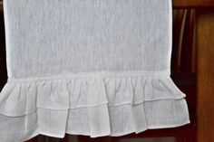 Linen Table Runner with ruffles on the ends frills by AmoreBeaute