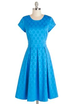 Shine the Dotted Line Dress. Sign up for a dazzling housewarming fte in this fit-and-flare dress! #blue #modcloth