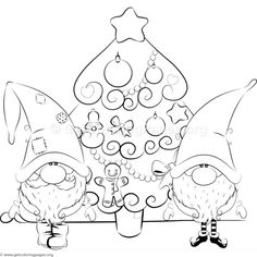 Santa And Elf Coloring Pages Free Adult Coloring Pages, Free Printable Coloring Pages, Coloring Books, Coloring Book Pages, Cartoon Christmas Tree, Christmas Gnome, Christmas Crafts, Illustration Noel, Illustrations