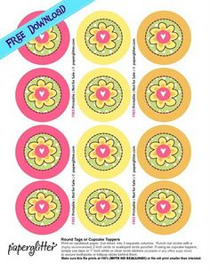 FREE: Flower Round Tags or Cupcake toppers