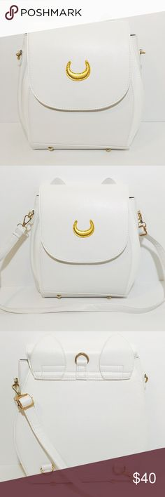 "Sailor Moon Backpack or Purse Brilliant white Sailor Moon inspired backpack and purse. Reminiscent of the white cat Artemis from the show. Golden crescent moon emblem. Material is leather like. Brand new, never used, no brand. Has front pocket, two 3"" wide interior pockets, and one interior zipper pocket. Can be worn 3 ways - across the chest, as a backpack or as a purse. gold colored hardware with adjustable clasps and straps. Also available in black. Luna & Sol Bags Backpacks"
