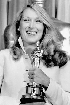 1980 Oscars - Meryl Streep with her Academy Award - Getty Images - HarpersBAZAAR.com