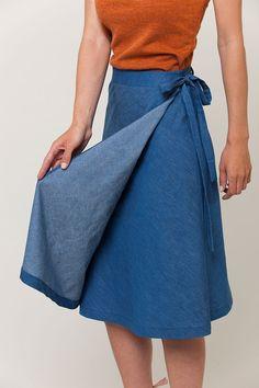 Laura Wrap Skirt pattern, tie view, by Seamwork
