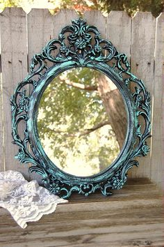 Shabby chic, oval mirror hand painted in aqua over black, with a protective coating. The mirror has a picture wire hanger. Perfect for wedding, shabby chic, nursery or cottage decor. The mirror is ova Shabby Chic Mode, Shabby Chic Living Room, Shabby Chic Style, Shabby Chic Furniture, Shabby Chic Decor, Beach Furniture, Furniture Vintage, Rustic Decor, Shabby Chic Spiegel