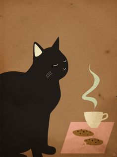 Black cat - coffee and cookies Crazy Cat Lady, Crazy Cats, Art And Illustration, Illustrations, Black Cat Art, Black Cats, Black Kitty, Black Cat Aesthetic, Cat Paws