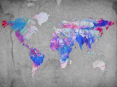 Painterly world map vintage map - hardtofind.