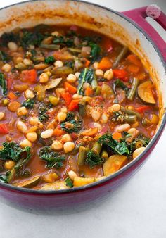 Kale and Quinoa Minestrone {Vegan and Gluten Free} - Cooking Classy - looks like it makes a lot. My family could probably get three meals out of this. Whole Food Recipes, Soup Recipes, Vegetarian Recipes, Cooking Recipes, Healthy Recipes, Vegetarian Soup, Recipies, Healthy Fall Soups, Vegan Soups