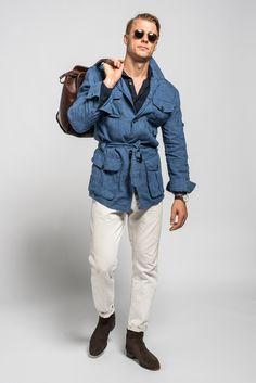 Denim look linen safari Mens Linen Jackets, Stylish Men, Men Casual, Safari Jacket, Dapper Men, Men's Coats And Jackets, Men Style Tips, Mens Clothing Styles, Military Fashion