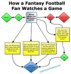 How a Fantasy Football Fan Watches a Game... it can get complicated, but it also makes every game almost as interesting as your team's game! :)