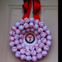 Texas Rangers Baseball Wreath -- i want to try... also, cute idea for all sports seasons! although, it'd be half dallas/half pittsburgh teams (not baseball though!). ;-)