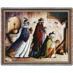 "54"" width x 70"" length Jacquard woven 100% cotton art tapestry. Not a print. Fringed. Made in the USA. Special Delivery/Handling: If not in stock, please allow up to 4 weeks for production in addition"
