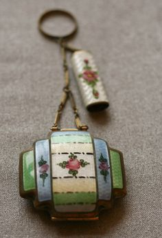 Antique Enamel Makeup Compact with ring key