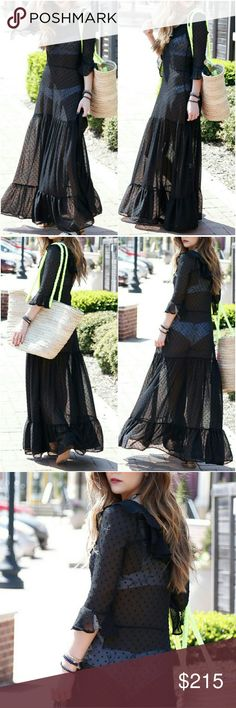 """🎀NWT🎀 FOR LOVE AND LEMONS MAXI DRESS Flowy bottom with ruffle hem  Ruffle on neckline and at end of 3/4 sleeves Super chic and chill  Waist 29"""" length 57"""" from shoulder to hem Pit to pit 17""""  Dress is sheer Detachable slip (short) included The slip has some stains from people trying on.. same type of stain you see on clothing at stores. They will wash off. I will try to take off the stain as much as possible without washing. For Love And Lemons Dresses Maxi"""