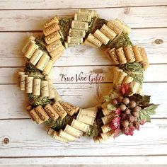 The perfect wreath to carry you through fall, into the holidays, and right in into winter! This wreath measures 16 inches across at its widest point making it perfect for a standard front door. Wine Cork Wreath, Wine Cork Ornaments, Wine Cork Art, Wine Corks, Wine Cork Jewelry, Wine Craft, Wine Cork Crafts, Wine Bottle Crafts, Wine Bottles