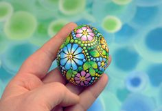 Summer meadow hand-painted stone by AnjaSonneborn on Etsy