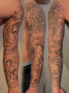 Wonderful Sleeve Angel Tattoo Design for Men | Cool Tattoo Designs