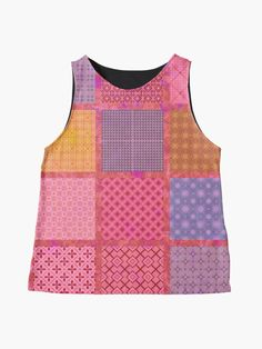Alternate view of Bright Colorful and Girly Coral Pink Patchwork Quilt Tile Print Sleeveless Top Blouses For Women, Women's Blouses, Retro Shirts, Pink Jeans, Pink Leggings, Girly Outfits, Coral Pink, Pink Fashion, Tile
