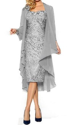 Fanmu Women's Mother of the Bride Dress With Jacket Mother Party Dress Silver grey US 26plus