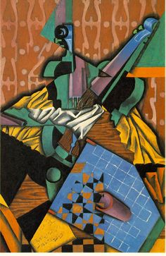 "Juan Gris (Spanish, b. 1887 - 1927) "" Violin and Checkerboard "" - Oil on canvas"