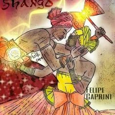 Shango and Oshun by Felipe Caprini Shango Orisha, Magick, Red And White, Religion, Spirituality, Comics, Goddesses, Spirit Guides, Drawings