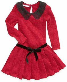 Bonnie Jean Girls Dress, Little Girls Long-Sleeved Pleated Dress