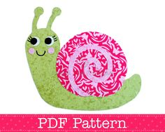 Snail Applique Template PDF Pattern DIY Make Your Own Fabric Applique Animal PDF Template by Angel Lea Designs