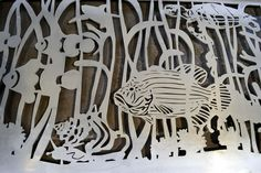 Custom Driveway Gate with Clown Fish, Grouper, Conch and Sea Turtle DR-11. Visit NatureRails.com for more ideas.