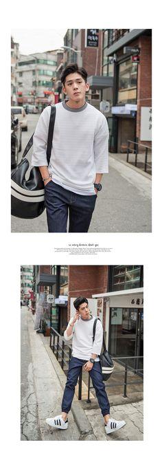 [[VON.06] 엠보 배색 루즈 7부 티셔츠] 남자코디 남친룩 남자패션 남성패션 남자의류 남자 쇼핑몰