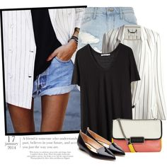 1941. Get The Look by chocolatepumma on Polyvore featuring polyvore fashion style T By Alexander Wang Chloé River Island Rupert Sanderson Marc by Marc Jacobs GetTheLook chic stripes denimshorts