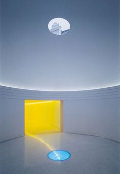 "© James Turrell Turrell's medium is pure light. He says, ""My work has no object, no image and no focus. With no object, no image and no focus, what are you looking at? You are looking at you looking. What is important to me is to create an experience of wordless thought."""
