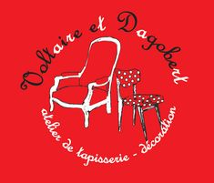 Voltaire et Dagobert - Logo . #créatybreizh #stmalo #voltaireetdagobert #artisanat #ameublement #fauteuil #tabouret #luminaire #baladeuse #petitpan St Malo, Neon Signs, Logo, Armchairs, Tapestry, Stool, Arredamento, Lighting, Handicraft