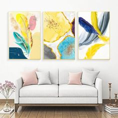 Modern Color Ink Abstract Marble Feather Wall Art Canvas Painting Nordic Posters And Prints Wall Pictures For Living Room Decor
