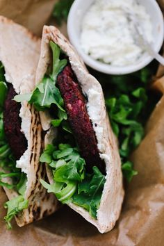 Beet Veggie Burger Stuffed Pita with Whipped Feta - December 13 2018 at - and Inspiration - - Vegan Vegetarian And Delicious Nutritious Meals - Weighloss Motivation - Healthy Lifestyle Choices Arugula Recipes, Beet Recipes, Burger Recipes, Salmon Recipes, Lunch Recipes, Appetizer Recipes, Whole Food Recipes, Vegetarian Recipes, Cooking Recipes