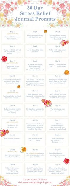 If you enjoy writing and are looking for stress relief, use the 30 Day Stress Relief Journal Prompts. Uplift your spirit and track your journey.