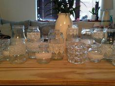 used as vases Lace Jars, Vases, Glass Vase, Wedding, Home Decor, Valentines Day Weddings, Mariage, Weddings, Interior Design