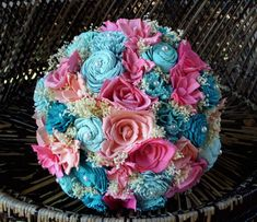 Pink and blue bridal bouquet Sola flower bouquet rustic Rustic Bridal Bouquets, Bridal Bouquet Blue, Rustic Bouquet, Blue Bridal, Flower Bouquet Wedding, Flower Bouquets, Sola Flowers, Rustic Wedding, Wedding Beach
