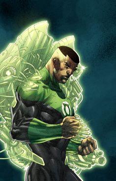 John Stewart (Green Lantern) by Jim Lee Dc Comics Vs Marvel, Black Comics, Dc Comics Superheroes, Dc Comics Art, Anime Comics, Green Lantern Tattoo, Black Green Lantern, Green Lantern Comics, Green Lanterns