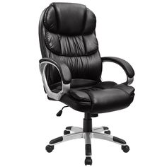 Furmax Office Chair Ergonomic High Back Swivel Executive chair PU Leather Desk Task Chair with Padded Armrests and Back Support