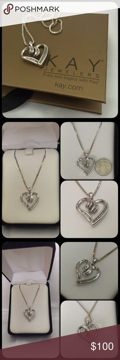 """Diamond Heart Necklace genuine real diamondsset in Sterling silverlays beautifully on a 18"""" Sterling silver box chainthis is pre owned and the pendant shows some wearbox shown not included and is used for display purposes but I will substitute with a different box Kay Jewelers Jewelry Necklaces"""