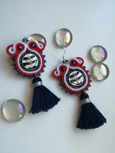 Mini navy soutache earrings, navy blue, red and white with tassels