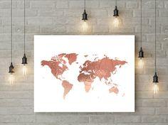 Große Weltkarte Druck - rose gold Reise-Dekor, druckbare Karte Poster mit faux Folie Wirkung. Stilvolle Wandkunst für Ihr Zuhause oder Büro. BITTE BEACHTEN: (1) Dies ist eine druckbare Wandkunst, und kein physisches Produkt gesendet wird. (2) dieses Angebot ist für ein ~ DIGITAL