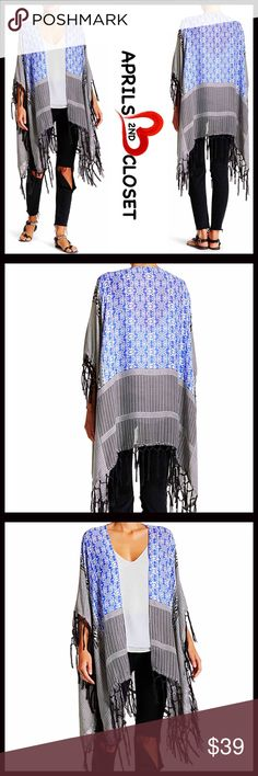 """STEVE MADDEN Kimono Cape Boho Wrap Shawl NEW WITH TAGS RETAIL PRICE: $55 ***One size fits most STEVE MADDEN KIMONO Boho Fringe Wrap Cardi Coverup  * Woven lightweight construction   * Open front  * Oversized style & slouchy swing cape silhouette  * Allover boho print   * Fringe tassel trim, raw edge hem   * Approx 42""""W X 76"""" L; ****Tagged OS-One size fits most   Material: polyester, rayon, nylon, 2% wool  Color: Black, white Item#: SM9  No Trades ✅ Offers Considered*✅ *Please use the blue…"""